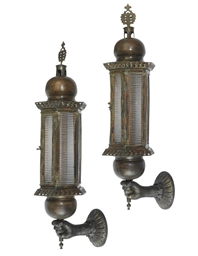A PAIR OF VENETIAN BRONZE AND