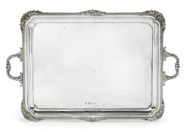 A RECTANGULAR SILVER TWO-HANDL