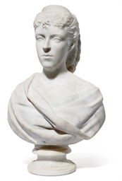 A WHITE MARBLE BUST OF A WOMAN