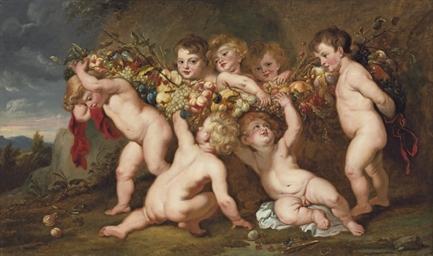 Putti carrying a garland of fr
