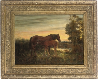 A horse and foal in a landscap