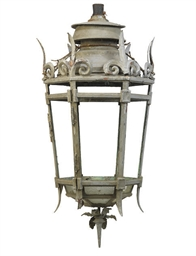 A SILVERED COPPER LANTERN