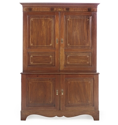 A MAHOGANY AND INLAID CABINET