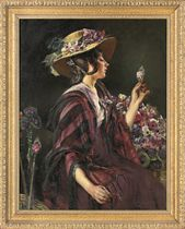 Portrait of the character Eliza Doolittle from Pygmalion, seated half-length, a flower in her left hand