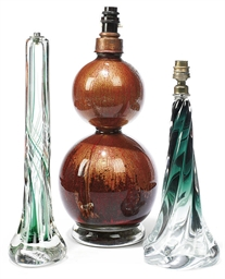 THREE CONTINENTAL ART GLASS TA