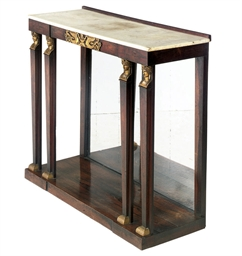 A FRENCH ROSEWOOD AND MARBLE C