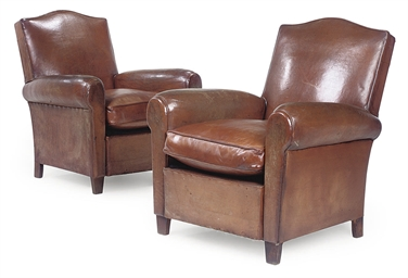 A PAIR OF FRENCH CLUB ARMCHAIR