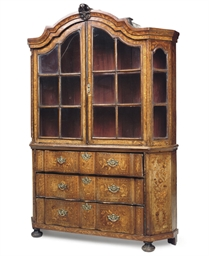 A DUTCH WALNUT MARQUETRY DISPL