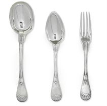 A GROUP OF TWENTY-FOUR FRENCH SILVER TABLE FORKS AND TABLESPOONS
