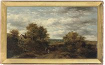 Figures on a path with cattle beside a bridge; and Figures resting on a path beside a pond