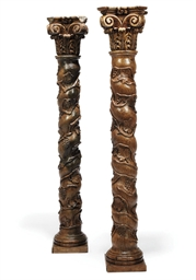 A PAIR OF FLEMISH CARVED WALNU