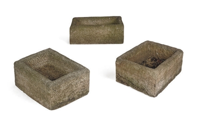 A GROUP OF THREE STONE TROUGHS