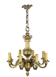 A FRENCH GILT BRASS EIGHT LIGH