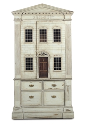 A GREY PAINTED DOLL'S HOUSE LI