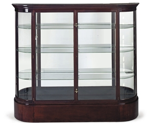 A GLASS AND MAHOGANY DISPLAY C