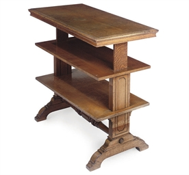 A MID VICTORIAN OAK THREE-TIER