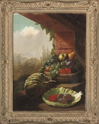 Assorted fruit by a window, a