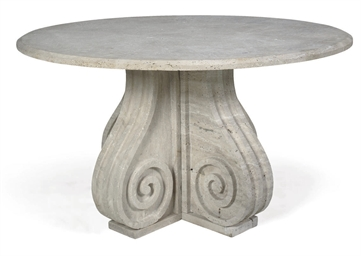 A TRAVERTINE OCCASIONAL TABLE