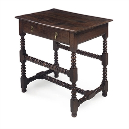 AN CHARLES II OAK SIDE TABLE