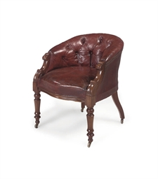 A FRENCH WALNUT TUB-ARMCHAIR