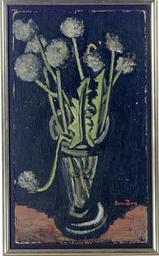 Still life of a vase of dandel