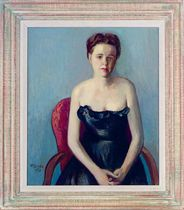 Portrait of a lady in a black evening dress