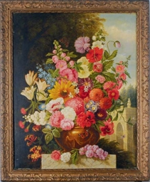 Still life of flowers, a park
