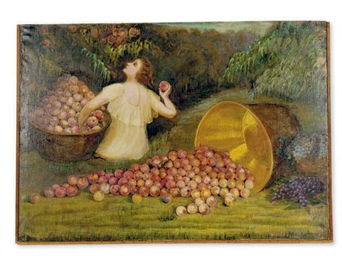 Girl seated amongst peaches in