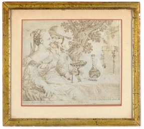 Amorous couples on a terrace;