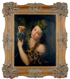 Bacchus holding grapes