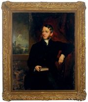 Portrait of the Reverend Walter Hudson, seated three-quarter length, a church beyond