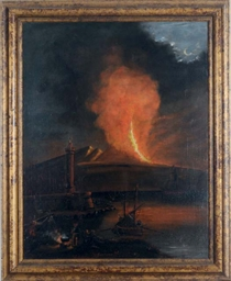 Vesuvius erupting under the mo