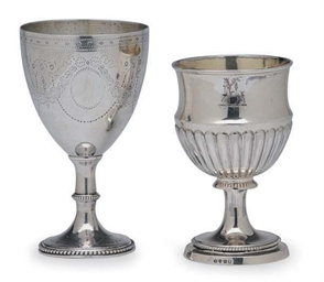 TWO GEORGE III SILVER GOBLETS,