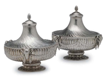 A PAIR OF SILVER BOWLS WITH CO