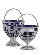 TWO GEORGE III SILVER SUGAR PAILS,