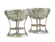 TWO VICTORIAN SILVER-GILT DESSERT STANDS,