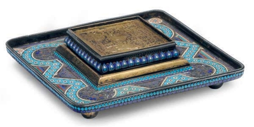 A RUSSIAN SILVER AND ENAMEL IN