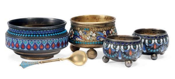 FOUR RUSSIAN ENAMELED SILVER S