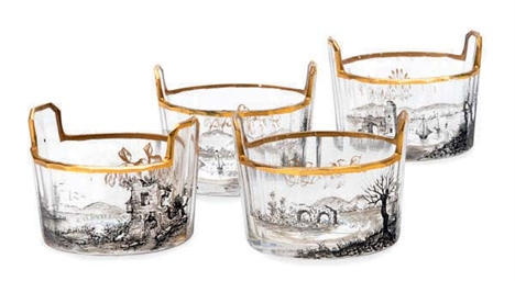 FOUR FRENCH GLASS SALT CELLARS