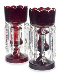 A PAIR OF RUBY GLASS LUSTRES,