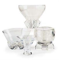 AN AMERICAN GLASS GAZELLE BOWL AND STAND AND THREE OTHER BOWLS,