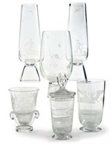 A GROUP OF SIX AMERICAN ETCHED GLASS VASES,