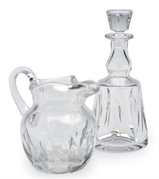 A FRENCH GLASS PITCHER AND DEC