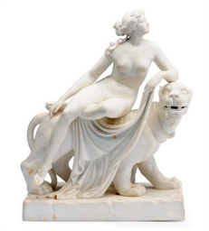AN ENGLISH PARIAN FIGURE OF ARIADNE RECLINING ON A PANTHER, AFTER DANNEKER