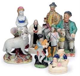 A GROUP OF STAFFORDSHIRE AND C