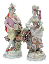 A PAIR OF ENGLISH PORCELAIN FI