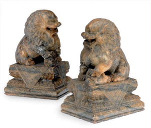 A PAIR OF CHINESE SOAPSTONE FI