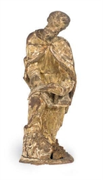 A CONTINENTAL GILTWOOD FIGURE
