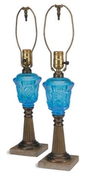 A PAIR OF GILT-METAL AND BLUE
