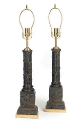 A PAIR OF PATINATED BRONZE COL